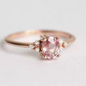 14kgp ring with Pink Spinel Stone & CZ Accents